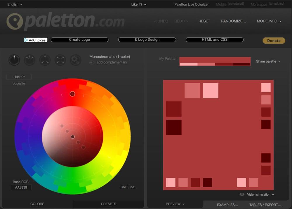 Paletton website for choosing color palettes