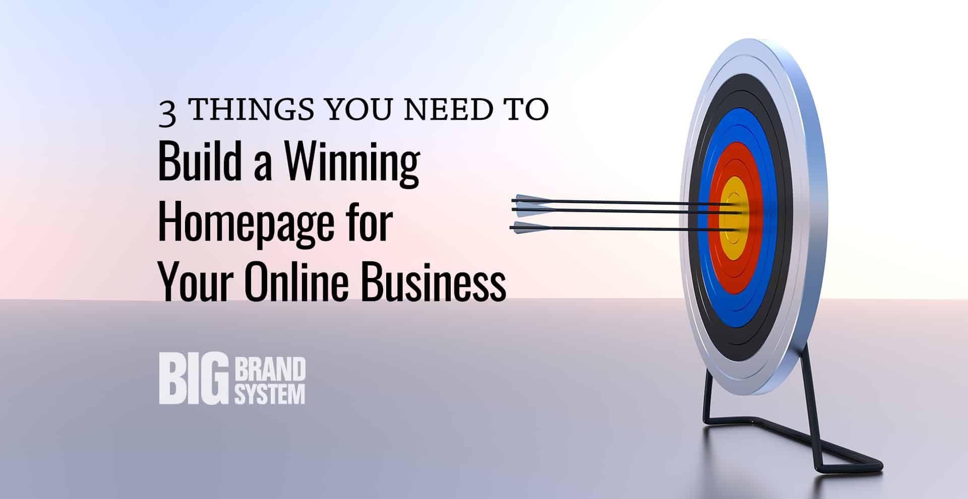 winning online business homepage